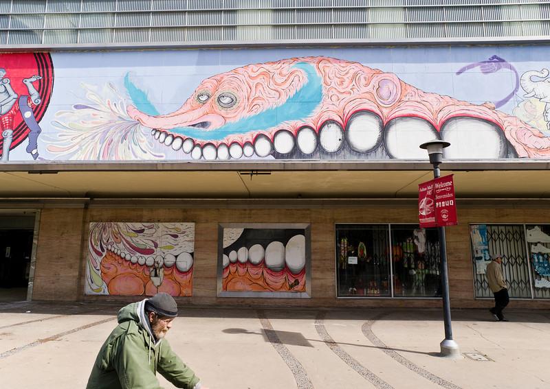 Artwork on the old Gottshalks building in Fresno.