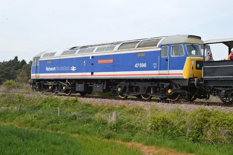 47367 tnt 47596 on a Dereham-Wymondham Halt at Wicklewood on the MNR.