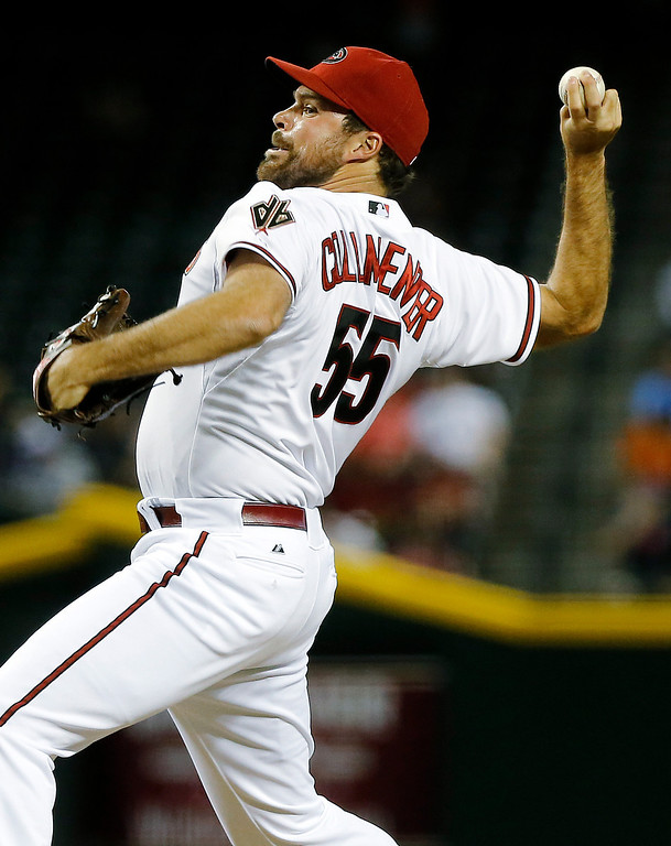 . Arizona Diamondbacks pitcher Josh Collmenter delivers against the Colorado Rockies during the sixth inning of a baseball game, Thursday, April 25, 2013, in Phoenix. (AP Photo/Matt York)