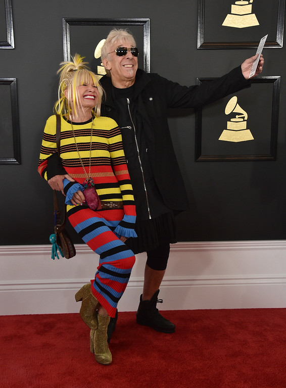 . Betsey Johnson, left, and John Cale arrive at the 59th annual Grammy Awards at the Staples Center on Sunday, Feb. 12, 2017, in Los Angeles. (Photo by Jordan Strauss/Invision/AP)