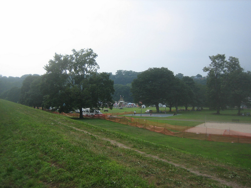 Panorama view #1. Looking back towards the Festival in Springdale Park.