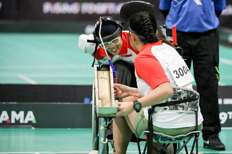 PARA BOCCIA -  TOH SZE NING  & CHEW ZI QUN (RAMP ASSIST)  in action & representing Singapore in Mixed Individual BC3  at MITEC Hall 6, KL on September 22th, 2017 (Photo by Sanketa Anand)