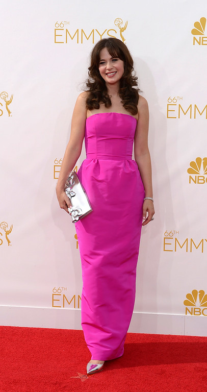 . Zooey Deschanel on the red carpet at the 66th Primetime Emmy Awards show at the Nokia Theatre in Los Angeles, California on Monday August 25, 2014. (Photo by John McCoy / Los Angeles Daily News)