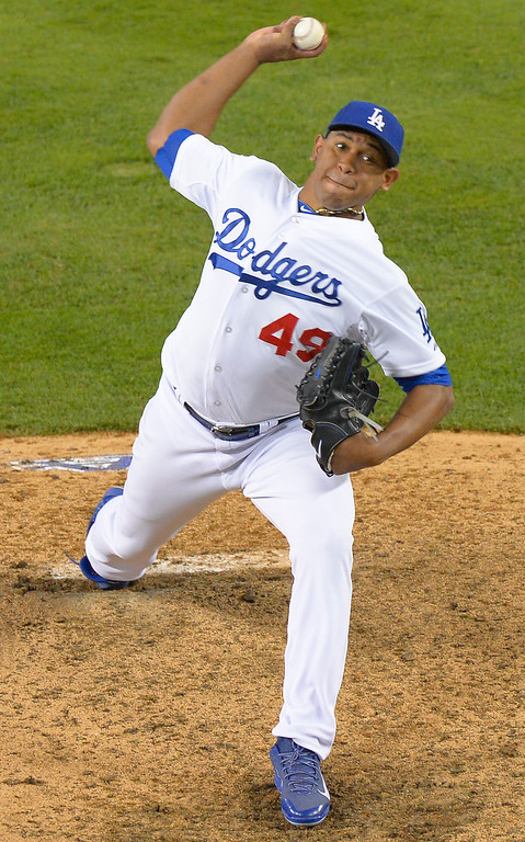 . Carlos Marmol finished the game for the Dodgers. The Dodgers lost to the Saint Louis Cardinals 4-2 in game 4 of the National League Championship Series at Dodger Stadium in Los Angeles, CA. 10/15/2013. photo by (John McCoy/Los Angeles Daily News)