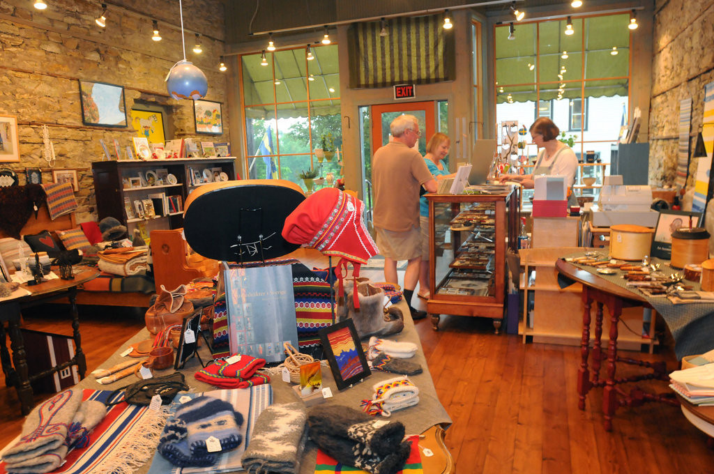 . Shoppers make a purchase at Ingerbretsen\'s at 12092 Hwy 35 in Stockholm, Wisconsin on June 26, 2013.  The shop offers a wide variety of hand-made items from Sweden. (Pioneer Press: Ginger Pinson)