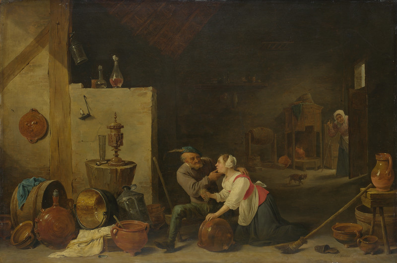 An Old Peasant caresses a Kitchen Maid in a Stable