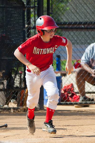 Christopher hits back to the pitcher and is thrown out at 1st base to end the 3rd inning with the Nats trailing 2-4. The Nationals struggled on both offense and defense in a 2-11 loss to the Orioles. They are now 7-4 for the season. 2012 Arlington Little League Baseball, Majors Division. Nationals vs Orioles (19 May 2012) (Image taken by Patrick R. Kane on 19 May 2012 with Canon EOS-1D Mark III at ISO 400, f4.0, 1/2000 sec and 280mm)