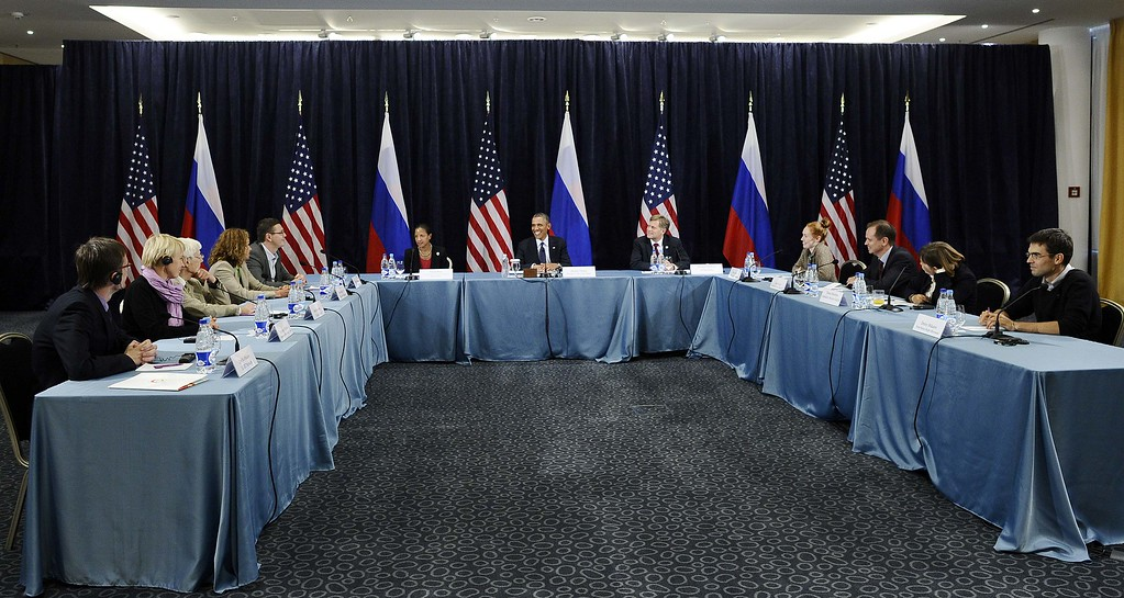. US President Barack Obama (C) holds a Civil Society Roundtable with gay, lesbian, transexual right activists at the Crowne Plaza Hotel in Saint Petersburg on September 6, 2013 on the sideline of the G20 summit. World leaders at the G20 summit on Friday failed to bridge their bitter divisions over US plans for military action against the Syrian regime, with Washington signalling that it has given up on securing Russia\'s support at the UN on the crisis. JEWEL SAMAD/AFP/Getty Images