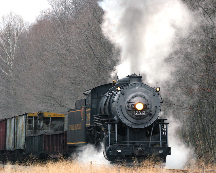 #734 steam engine pulling freight at Sunnyside Western Maryland Scenic Railroad