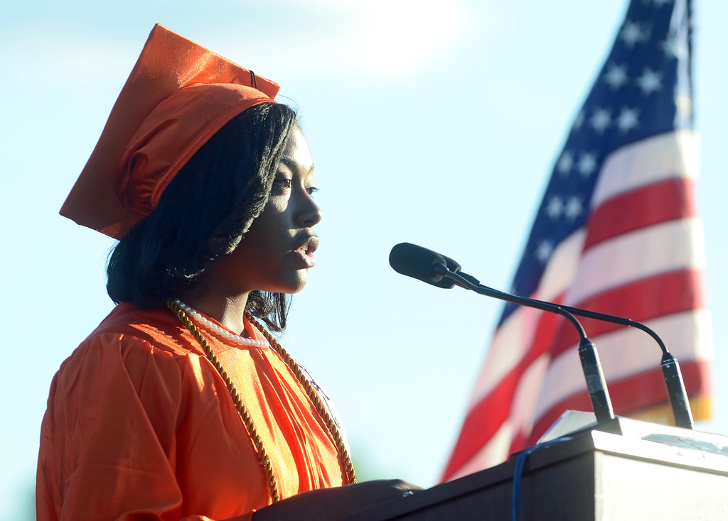 . Kamri Staples, STEM Academy at Showalter valedictorian gives her speech during the Chester High School graduation, Friday. (Times Staff / JULIA WILKINSON)