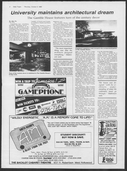 Daily Trojan, Vol. 102, No. 28, October 09, 1986