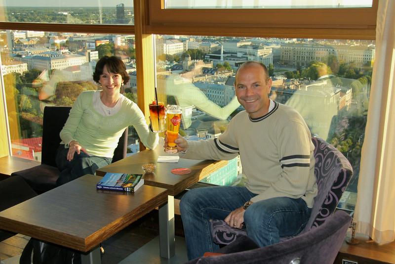 Enjoying the sweeping views of lovely Riga at the Skyline Bar -Riga, Latvia