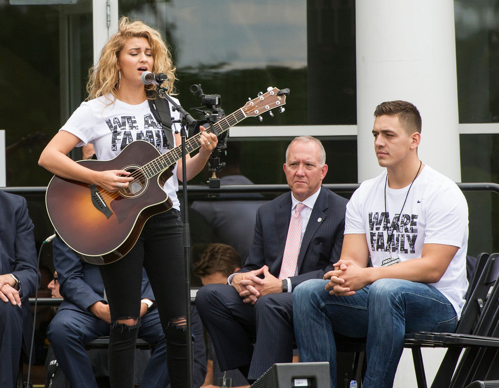 . Singer Tori Kelly performs at the opening ceremony for the I Promise School in Akron, Ohio, Monday, July 30, 2018. The I Promise School is supported by the The LeBron James Family Foundation and is run by the AkronPublic Schools. (AP Photo/Phil Long)