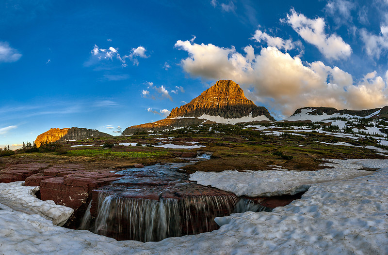 """""""Triple Falls""""  Glacier National Park, MT Technical Details: Shot with Canon 30D and Canon 10-22mm lens at F10 and 1/8.    Panorama created from 10  vertical shots."""