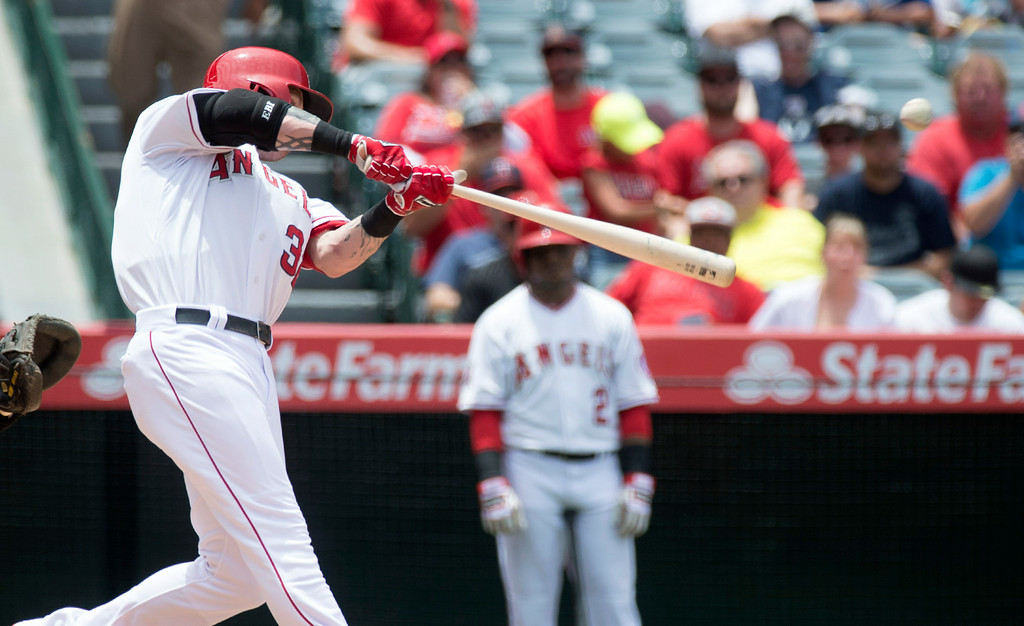 . Angels\' Josh Hamilton gets a hit as they play the Minnesota Twins at Angel Stadium in Anaheim on Thursday June 26, 2014. The Angels defeated the Minnesota Twins 6-4. (Photo by Keith Durflinger/Whittier Daily News)