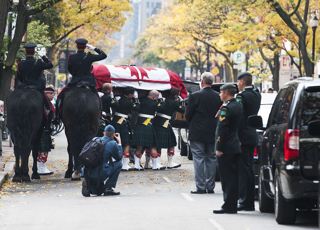 . The casket of Cpl. Nathan Cirillo is placed in a hearse at Christ\'s Church Cathedral during his funeral on October 28, 2014 in Hamilton, Ontario, Canada.   (Photo by Aaron Vincent Elkaim/Getty Images)