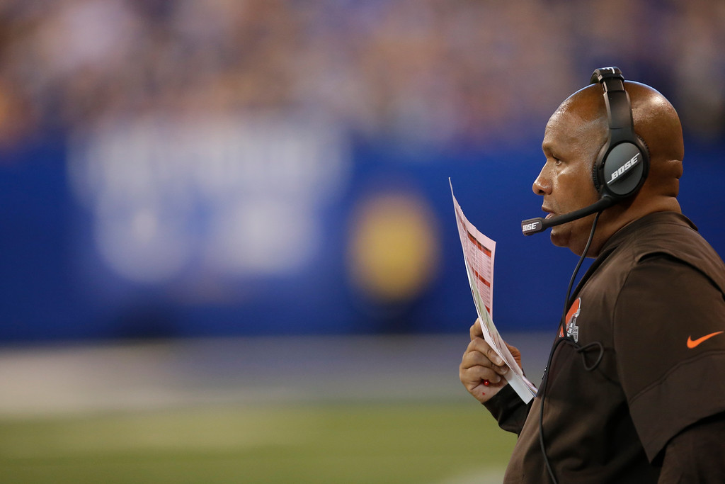 . Cleveland Browns head coach Hue Jackson during the second half of an NFL football game against the Indianapolis Colts in Indianapolis, Sunday, Sept. 24, 2017. (AP Photo/AJ Mast)