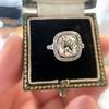 2.85ct Antique Cushion Cut Diamond Halo Ring 45