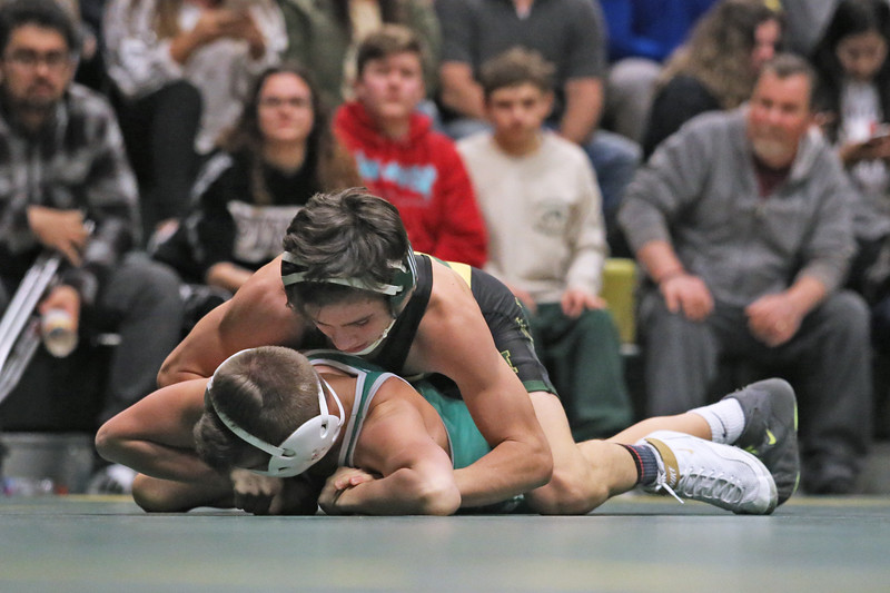 John Trainor of Brick takes on RyanSmith of Brick Memorial during their 113 lb bout as Brick Memorial High School hosted Brick Township High School for a boys varsity wrestling match on Tuesday Jan. 8,2019 (MARK R. SULLIVAN /THE OCEAN STAR)