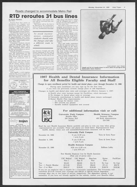 Daily Trojan, Vol. 102, No. 59, November 24, 1986
