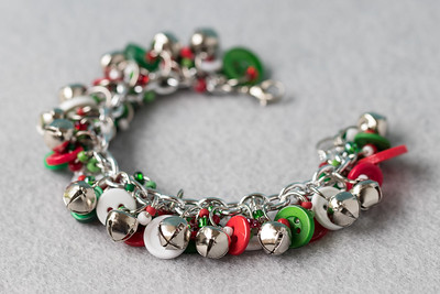 Button Charm Bracelet Silver Bells Christmas Jewelry