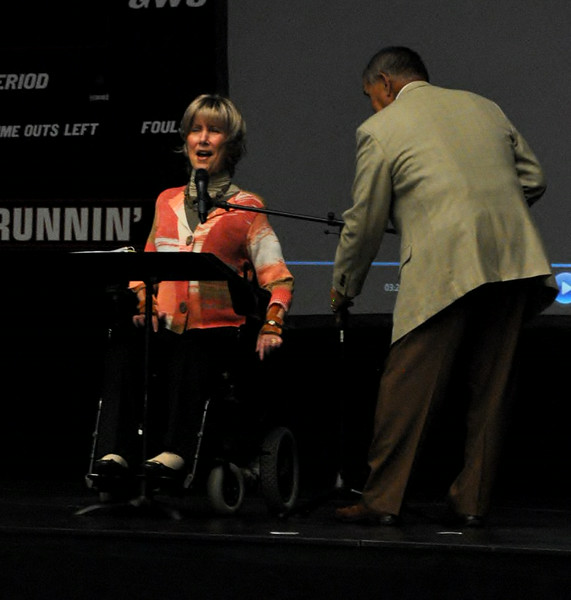 Joni Eareckson Tada and her husband Ken set up for Joni to speak at dimensions on September 2nd.