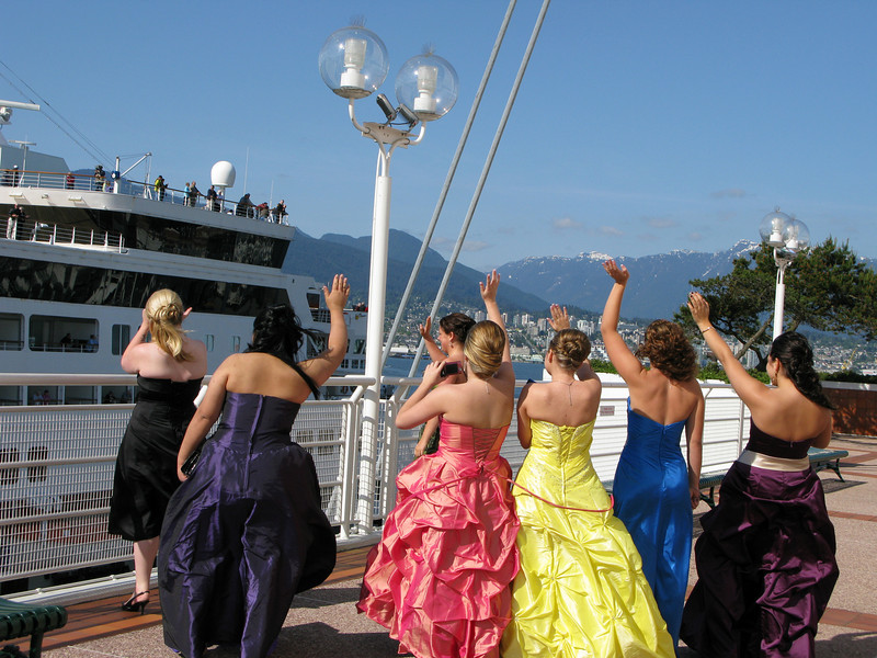 """I egged them into giving me a """"waving bon voyage"""" photo OP as the Veendam left for its next port O' call."""