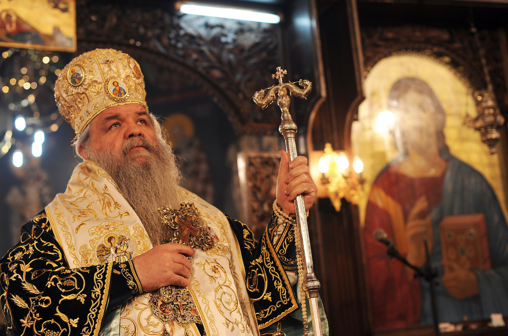 . Macedonian Christian Orthodox Archbishop Stefan holds a holy Christmas liturgy in St. Clement\'s Cathedral in Skopje on January 7, 2013. The Orthodox Church celebrates Christmas and other religious holidays according to the Julian calendar, while other Christian churches have adopted the later Gregorian calendar. AFP PHOTO / ROBERT ATANASOVSKI/AFP/Getty Images