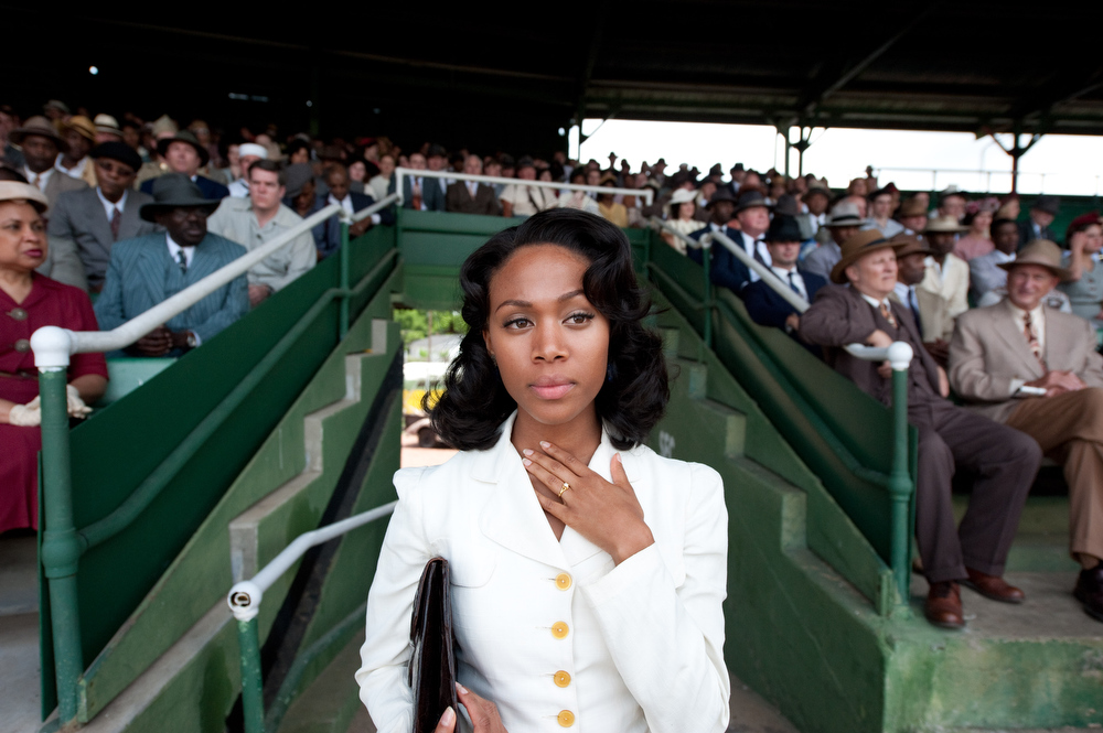 ". NICOLE BEHARIE as Rachel Robinson in Warner Bros. Pictures� and Legendary Pictures� drama � ""42\"" a Warner Bros. Pictures release."