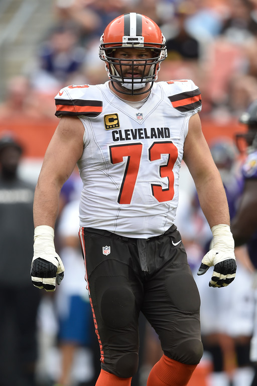 . Cleveland Browns tackle Joe Thomas stands on the field in the second half of an NFL football game against the Baltimore Ravens, Sunday, Sept. 18, 2016, in Cleveland. (AP Photo/David Richard)