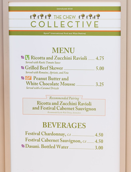 Chew Collective Menu - Epcot Food & Wine Festival 2016