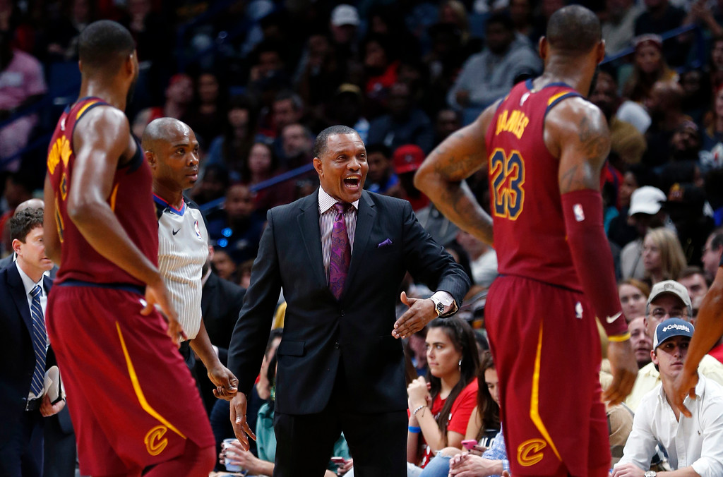 . New Orleans Pelicans head coach Alvin Gentry calls out from the bench in the first half of an NBA basketball game against the Cleveland Cavaliers in New Orleans, Saturday, Oct. 28, 2017. (AP Photo/Gerald Herbert)