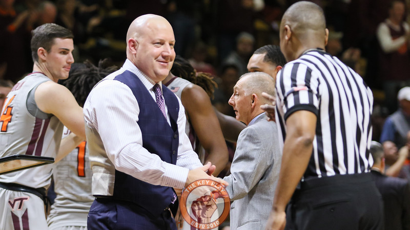 Head coach Buzz Williams speaks with a referee during a media timeout. (Mark Umansky/TheKeyPlay.com)