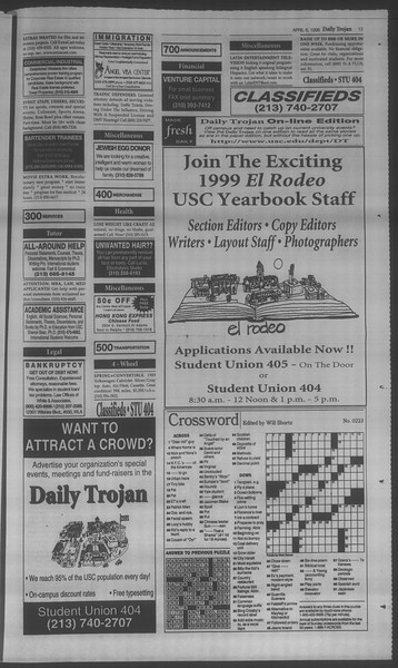 Daily Trojan, Vol. 133, No. 52, April 06, 1998