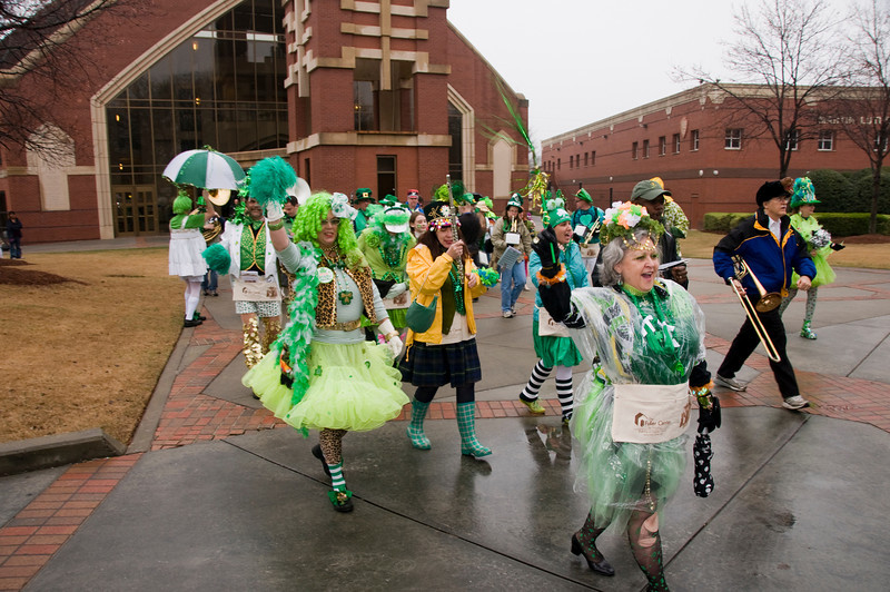 Feed and Seed Marching Abominable Band of Atlanta left St. Patrick's Day Parade early in order to lead Memorial Celebration march. sh