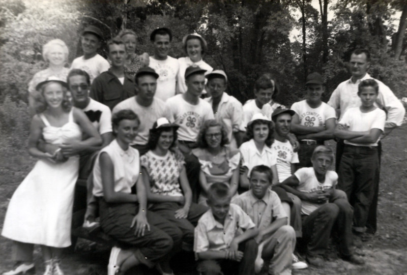1940's Baseball Team for Wales Township with Don Konyha Right and Florence Konyha left back row.jpeg