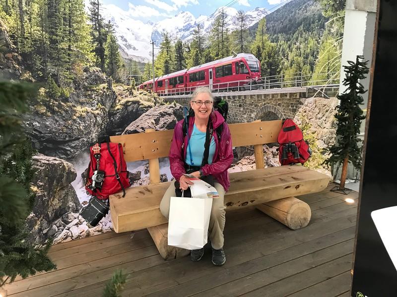 Waiting for the Bernina Express train in St. Moritz