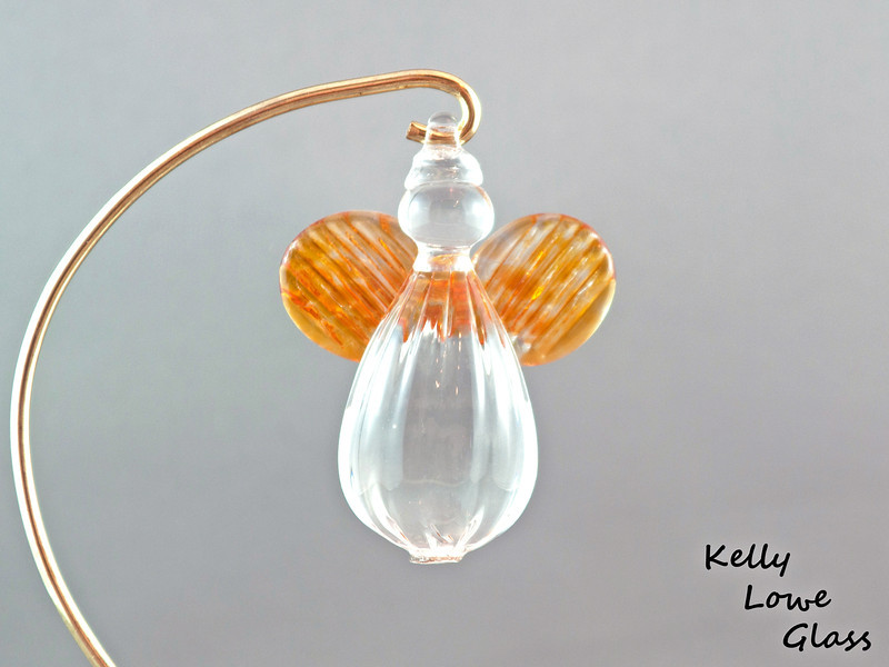 Hanging Glass Angel - Gold Topaz