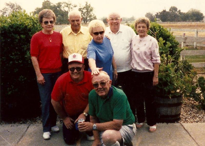 Top Row: Daughter: Lorean Moore, Brother, Neal Moore, Delphia Jean Miller, Earl Moore, Elsie Bontrager Bottom Row: Glen Moore, Owen Moore  Taken: September, 1987 , Morgan Hill, California