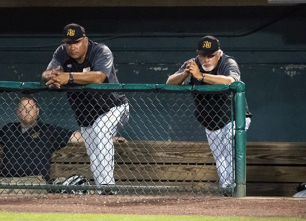 08/22/18 Wesley Bunnell | Staff The New Britain Bees vs the Road Warriors at New Britain Stadium on Wednesday night. Pitching Coach Mauro Gozzo and Manager Wally Backman.