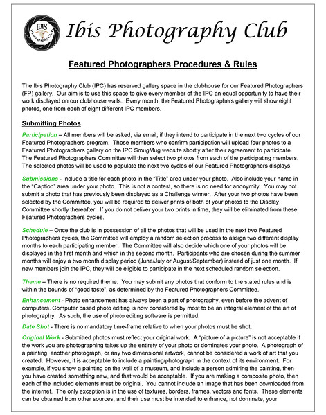 Featured Photographers Procedures & Rules - 2018