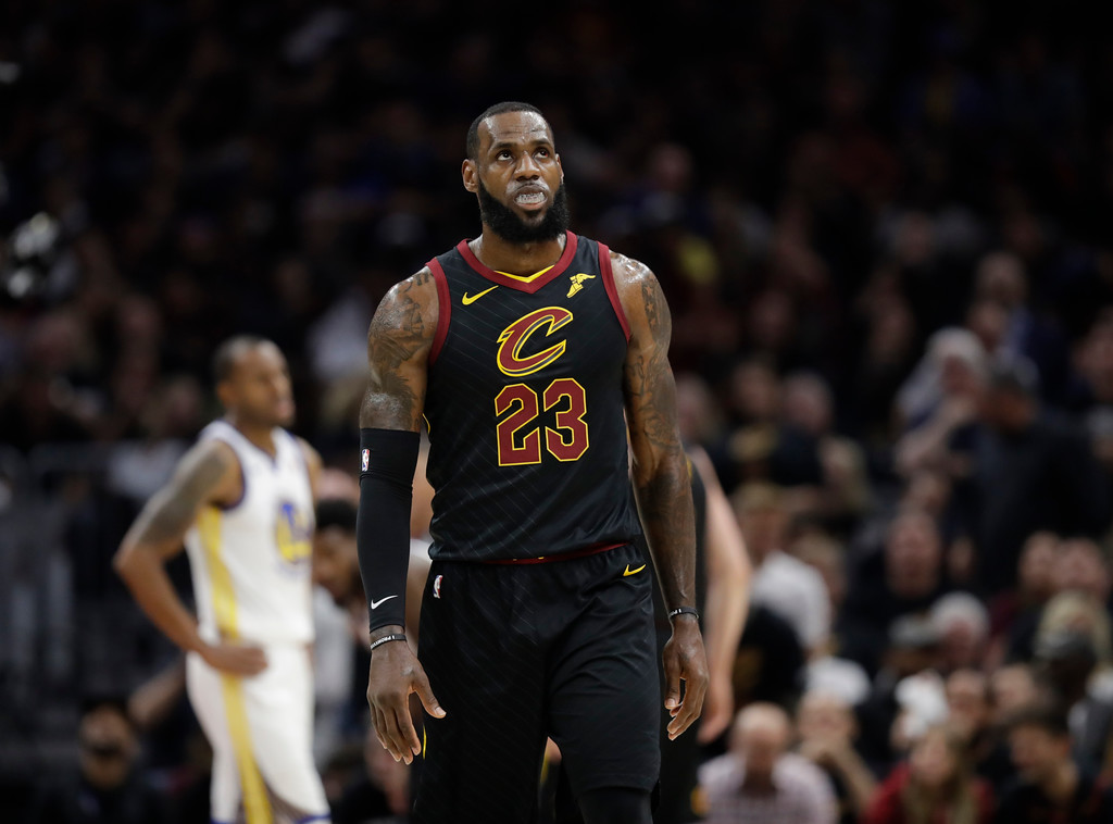 . Cleveland Cavaliers\' LeBron James in action in the first half of Game 4 of basketball\'s NBA Finals against the Golden State Warriors, Friday, June 8, 2018, in Cleveland. (AP Photo/Tony Dejak)