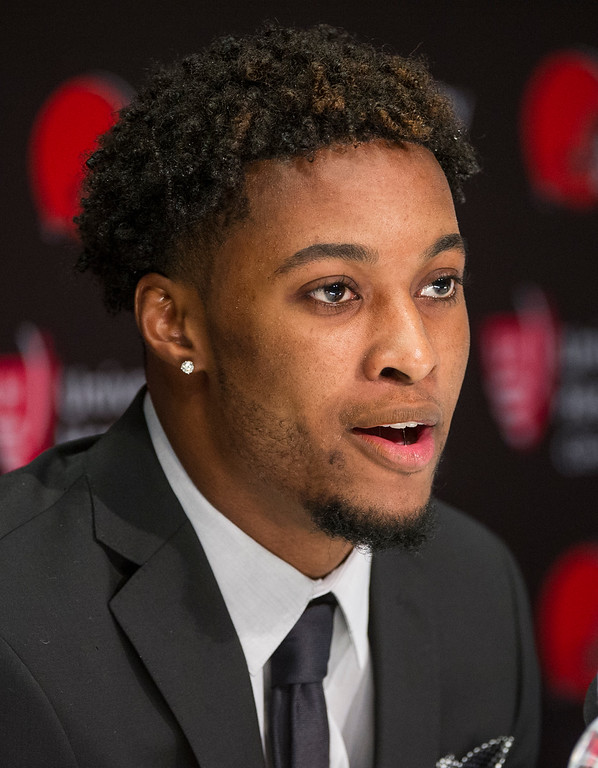 . Cleveland Browns first-round draft selection, Denzel Ward answers a question during an NFL football news conference at the team\'s headquarters in Berea, Ohio, Friday, April 27, 2018. (AP Photo/Phil Long)