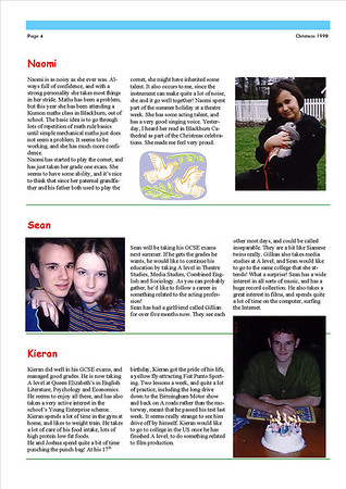 Christmas 1998 Fisher Family Newsletter