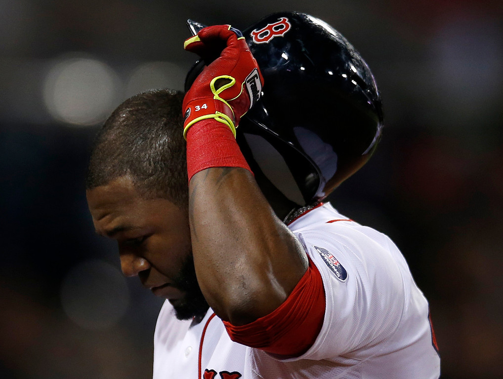 . Boston Red Sox designated hitter David Ortiz walks to the dugout after hitting a fly out to end the eighth inning during Game 1 of the American League baseball championship series against the Detroit Tigers Saturday, Oct. 12, 2013, in Boston. (AP Photo/Elise Amendola)