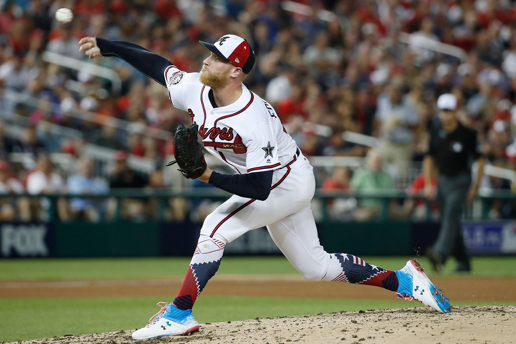 . Atlanta Braves pitcher Mike Foltynewicz (26) throws during the fourth inning of the Major League Baseball All-star Game, Tuesday, July 17, 2018 in Washington. (AP Photo/Alex Brandon)