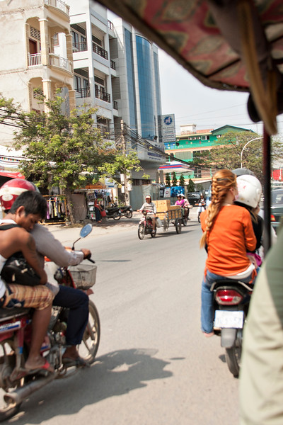 After leaving the Killing fields, we headed back to Jed and Kayla's. Traffic in Phnom Penh is actually rather slow-going, lacking the hustle and speed of other Asian streets.