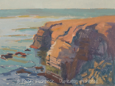 Sunset Cliffs at Hill St, 9x12, oil linen panel, plein air  G0658