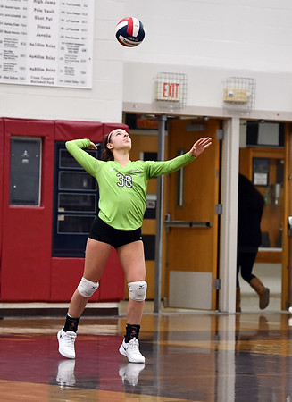 11/14/2019 Mike Orazzi | StaffrBristol Central High School's Gwenyth Torreso (38) during the Class L Second Round Girls Volleyball Tournament against St. Joseph at BCHS. r