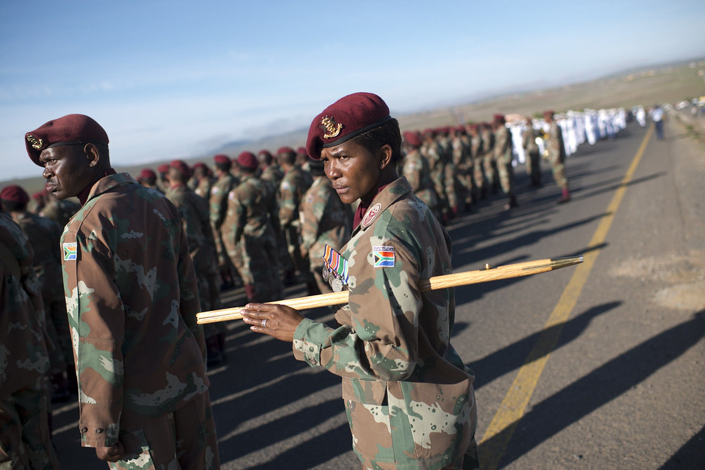 . South African armed forces prepare for the funeral procession carrying the coffin of former South African President Nelson Mandela to the compound for the funeral ceremony in Qunu on December 15 2013.  Mandela, the revered icon of the anti-apartheid struggle in South Africa and one of the towering political figures of the 20th century, died in Johannesburg on December 5 at age 95.   AFP PHOTO / PEDRO UGARTEPEDRO UGARTE/AFP/Getty Images